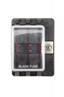 6 Way Fusebox 1 Power In - LED Light Blade Fuse Holder