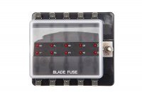10 Way Fusebox 1 Power In - LED Light Blade Fuse Holder